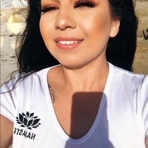 Bella canva white glittery NAMASTE  v neck shirt